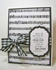 Market Street Stamps: Black & White Music Card by Lori Tecler ♡ Atc Cards, Stampin Up Cards, Cricut Cards, Musical Cards, Music Crafts, Happy Birthday Cards, Birthday Greetings, Instruments, Masculine Cards