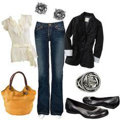 Cute date night outfit     (my version: cream DressBarn shirt, Seven dojo jeans OR Seven bootcut jeans, black Trina Turk blazer, black WHBM wedges, Louis Vuitton monogram pouchette, Swarovski antique studs)