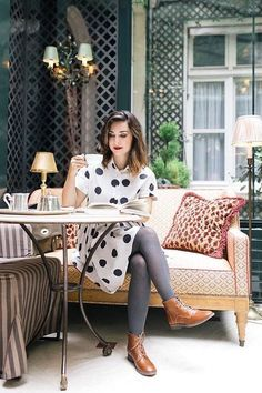 Les Trotteuses – San Marina & My Little Paris Grey Tights, Wool Tights, Colored Tights, Tights Outfit Winter, Estilo Folk, Polka Dot Tights, Moda Formal, My Little Paris, Style Feminin