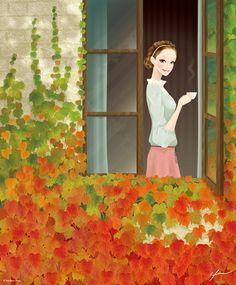 *Having a little cup of tea - Kentaro Hisa - Illustrator - Fukushima, Japan*