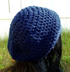 Tardis. This slouch hat is light weighted bright blue which is great for most of the year. Available to order @ facebook.com/hooka.yarn