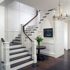 Top 60 Best Stair Trim Ideas - Staircase Molding Designs From modern flush baseboard to classic chair rail styles, discover the top 60 best stair trim ideas. Staircase Decor, Staircase Molding, Stairs Design, Home, House Staircase, Interior Staircase, House Stairs, Home Stairs Design, Stair Decor