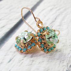 Dangle earring Chrisolite Crystal earrings 14k by @Sigalit Alcalai