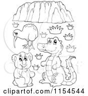 Cartoon Of An Outlined Kiwi Bird Crocodile Koala And Uluru Royalty