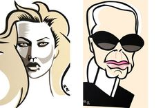 Cartoon Fashion Icons One T-Shirts by Michael Roberts