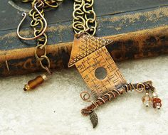 Whimsical copper birdhouse necklace by DragonflyDreamers on Etsy, $46.00