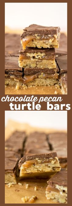 Chocolate Pecan Turtle Bars – Pecan short bread is layered with pecan halves, homemade caramel, and smooth milk chocolate to make a crispy, crunchy sweet treat. #recipe #chocolate #dessert #pecan #turtle #candy #caramel #bars