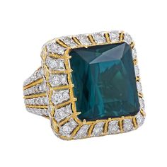 Buccellati Green Tourmaline Diamond Gold Cocktail Ring