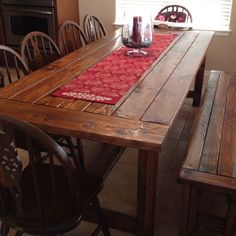 Copycat Restoration Hardware Farmhouse Table And Bench My Husband Built For  Me. Plans Found At