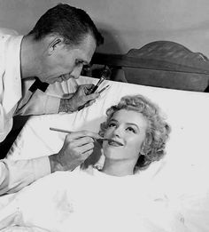 Having makeup applied before Appendix Surgery on April 28th Of 1952