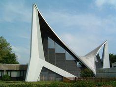 """Community Center """"Dietrich Bonhoeffer"""" (1971) in Bremen, Germany, by Carsten Schröck and Frei Otto"""