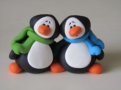 Polymer Clay Penguin Couple