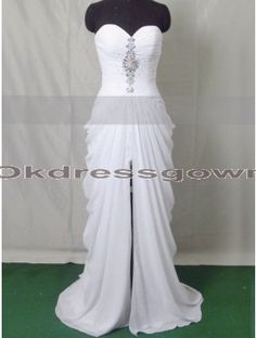 Hi-Lo Elegant Unique Sweet Heart White prom dress with Sweep Train
