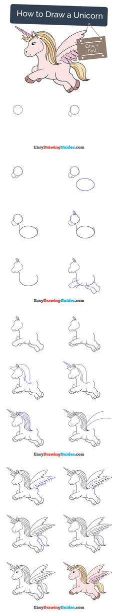 Flower Drawings Tutorial - Learn to draw a pretty Unicorn. This step-by-step tutorial makes it easy. Kids and beginners alike can now draw a great looking Unicorn. Unicorn Drawing, Cartoon Unicorn, Unicorn Kids, How To Draw Unicorn, Unicorn Art, Drawing Tutorials For Kids, Drawing For Beginners, Drawing For Kids, Drawing Ideas