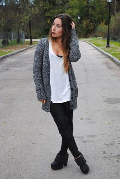 Shop this look on Lookastic: http://lookastic.com/women/looks/charcoal-cardigan-white-tank-black-leggings-black-ankle-boots/5959 — Charcoal Knit Cardigan — White Tank — Black Leggings — Black Leather Ankle Boots