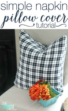 On a budget? Make your own pillow covers out of cloth napkins for dirt cheap! | Tutorial at TheTurquoiseHome.com