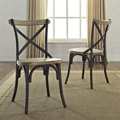 @Overstock - Urban Reclamation Solid Wood Dining Chairs (Set of 2) - The distressed, solid wood accents set in an antiqued, metal frame together create a beautiful two-toned finish. Its rustic, industrial look combined with a classic, x-back design is the perfect center piece for refined dining and entertaining.  http://www.overstock.com/Home-Garden/Urban-Reclamation-Solid-Wood-Dining-Chairs-Set-of-2/7731512/product.html?CID=214117 $284.99
