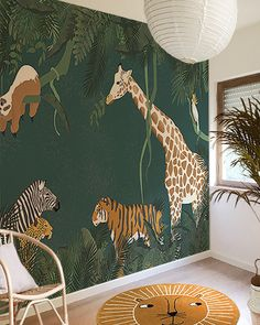 Little Hands Wallpaper - made by measure littlehandswallpaper Little Hands Wallpaper, Kids Room Wallpaper, Wallpaper Jungle, Animal Wallpaper, Jungle Nursery, Nursery Room, Boys Jungle Bedroom, Jungle Jungle, Jungle Theme Rooms