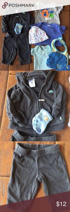 Carter's Newborn Outfit; Various Onesies/Hat/BIB Carter's Pants&Top/booties; Just Like Dad onesie, Small Wonders; BonBebe blue onesie/hat; Carter's stripe onesie & bib.  All newborn, good condition. Carter's,BonBebe,Small Wonder Matching Sets