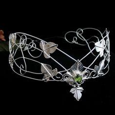Woodland Crown, Woodland Bridal Crown, Leaf Circlet, Rustic Leaves Wedding Circlet, Middle Earth Headpiece  -  Sterling Silver, Handmade.