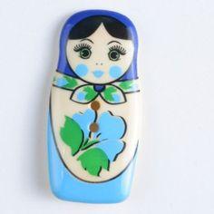 polyamide button, babuschka, 2 holes Size: 40mm Color: blue-370653-20