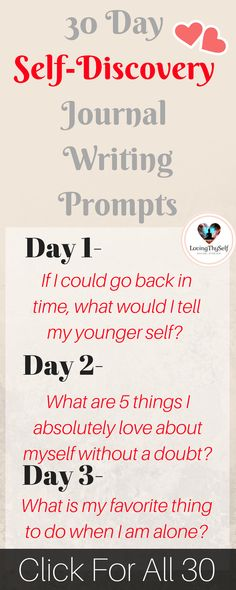 a 30 day daily self-discovery journal writing prompts for adults, for teens, for therapy. These journal prompts will help find happiness, self-love, and creativity! https://lovingthyself.net/30-day-journal-prompts-self-discovery/ #journal #prompts