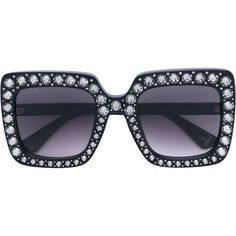 ea1031e3d20 Shop Gucci Eyewear Oversize square-frame sunglasses with crystals.