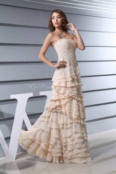 A-line Chiffon Strapless Natural Waist Floor-Length Zipper Sleeveless Ruching Ruffles Tier prom dress