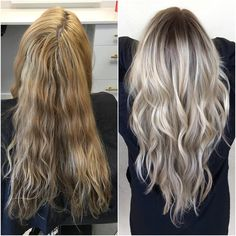 This is what I feel my hair looks like on the left. I do not want the result to be grey, like on the right. But if this was golden I would like it.