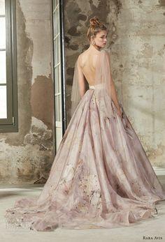 rara avis 2017 bridal sleeveless deep v neck unembellished floral printed romantic pastel purple a line wedding dress open back medium train (7) bv -- Rara Avis 2017 Wedding Dresses