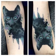 """Healed cat by Brett @bborlandtattoo #watercolorcat #watercolortattoo #abstracttartoo #hagerstowntattoo"" Photo taken by @yourstrulytattoo on Instagram, pinned via the InstaPin iOS App! http://www.instapinapp.com (03/24/2015)"
