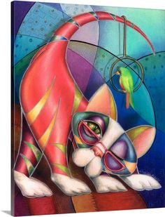 Contemporary artwork in the style of cubism of a cat with a bird in bold colors. Brass Ring Kitty Canvas Wall Art by Alma Lee from Great BIG Canvas.