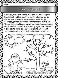 """Fiche GRATUITE à télécharger. """"Lis et colorie"""" sur le thème de l'automne. Les élèves doivent lire le paragraphe et colorier l'image selon les informations données dans le texte."""
