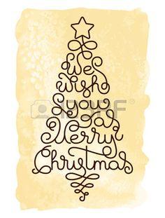 Vacances carte cadeau avec le lettrage la main Nous vous souhaitons un Joyeux No l sous la forme d u Banque d'images