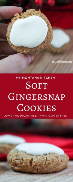 Soft Gingersnap Cookies (Low Carb, Gluten Free, Sugar Free, THM-S) #trimhealthymama #thm #thms #lowcarb #sugarfree #gingersnapcookie #christmas #cookies #glutenfree #molassescream