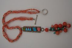 Vintage Salmon CORAL NECKLACE with Sterling by MOUNTAINPOODLE