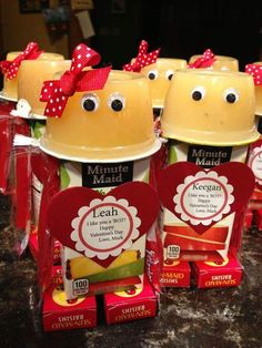 Cute Kids Valentines idea a healthy snack. 1 applesauce, 1 Apple juice & 2 small boxes of raisins. A personalized Valentine's Day note or add your own store bought Valentine's Day card a little bow & a couple of eyeballs. Cute Cute Cute