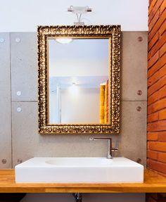 Custom Size Mirror In Gold Frame.
