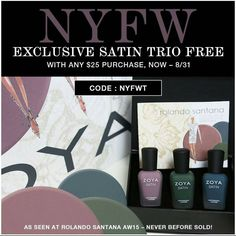 """Check out this pretty trio of polishes that you can get FREE with any $25 purchase from Zoya! These look like such great Fall colors! Use code NYFWT at…"""