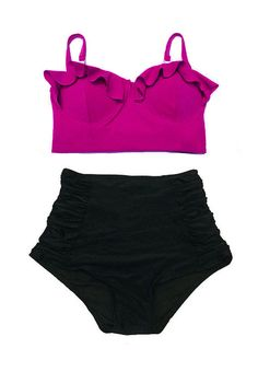 Maroon Plum Wine Midkini Top and Black Ruched Vintage High Waisted Waist Swimsuit Bottom Bikini Swimsuit Bathing suit Swimwear set S M L XL