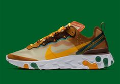 The Nike React Element 87 Returns In Pale Ivory And Orange Peel Me Too Shoes, Men's Shoes, Nike Shoes, Sneakers Nike, Nice Casual Outfits For Men, Nike Tennis, Shoe Organizer, Orange Peel, Nike Outfits