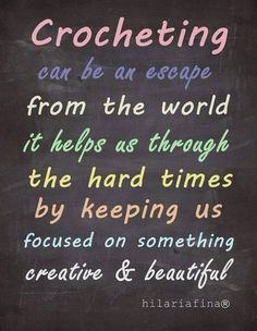 Crochet helps us thr