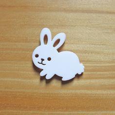 Laser Cut Acrylic Brooch White Bunny Rabbit Cute. $22.00, via Etsy.