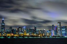 Amazing Chicago Skyline Blue Glow Wall Graphic