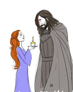 """A birthday fanart doodle for a fellow SanSan fan on Tumblr! Sandor Clegane and Sansa Stark from J.R.R. Martin's """"A Song of Ice and Fire""""."""