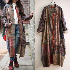100-Cotton-Linen-Folk-Women-Maxi-Long-Button-Floral-Loose-Retro-Dress-Coat-amp