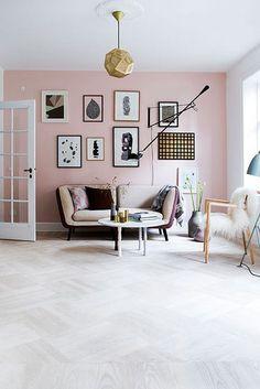 Rose quartz interiors   Rose quartz interior design   Pantone colour of the year   Pantone Rose Quartz   Pink living room   Feminine interior   Pink wall   Gallery wall