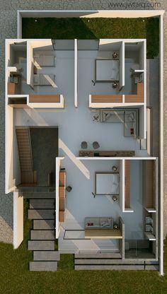Proyecto de vivienda residencial, con una combinación de materiales al desnudo. Buscando ser atractiva a un mercado no especifico.