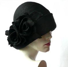 Black Felt Hat felt hats Black Cloche Hat Fapper 1920 by Feltpoint