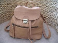 TOPSHOP Tan Brown Slouchy LEATHER Backpack Bag in VGC